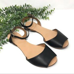 ALDO | Leather Ankle Strap Flat Peep Toe Sandals
